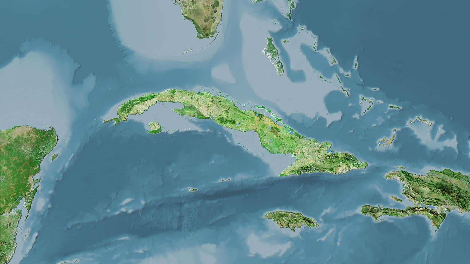 Cuba map from satellite